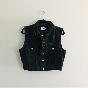 Calvin Klein Vintage 90s Crop Black Denim Vest